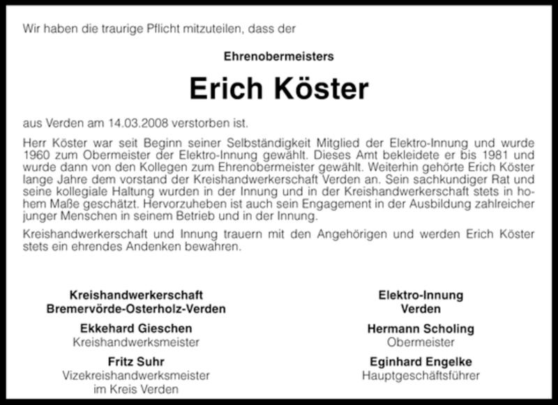 Traueranzeige für Erich Köster vom 26.03.2008 aus KREISZEITUNG SYKE