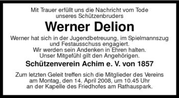Traueranzeige für Werner Delion vom 10.04.2008 aus KREISZEITUNG SYKE