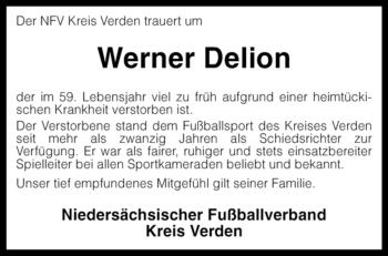 Traueranzeige für Werner Delion vom 12.04.2008 aus KREISZEITUNG SYKE