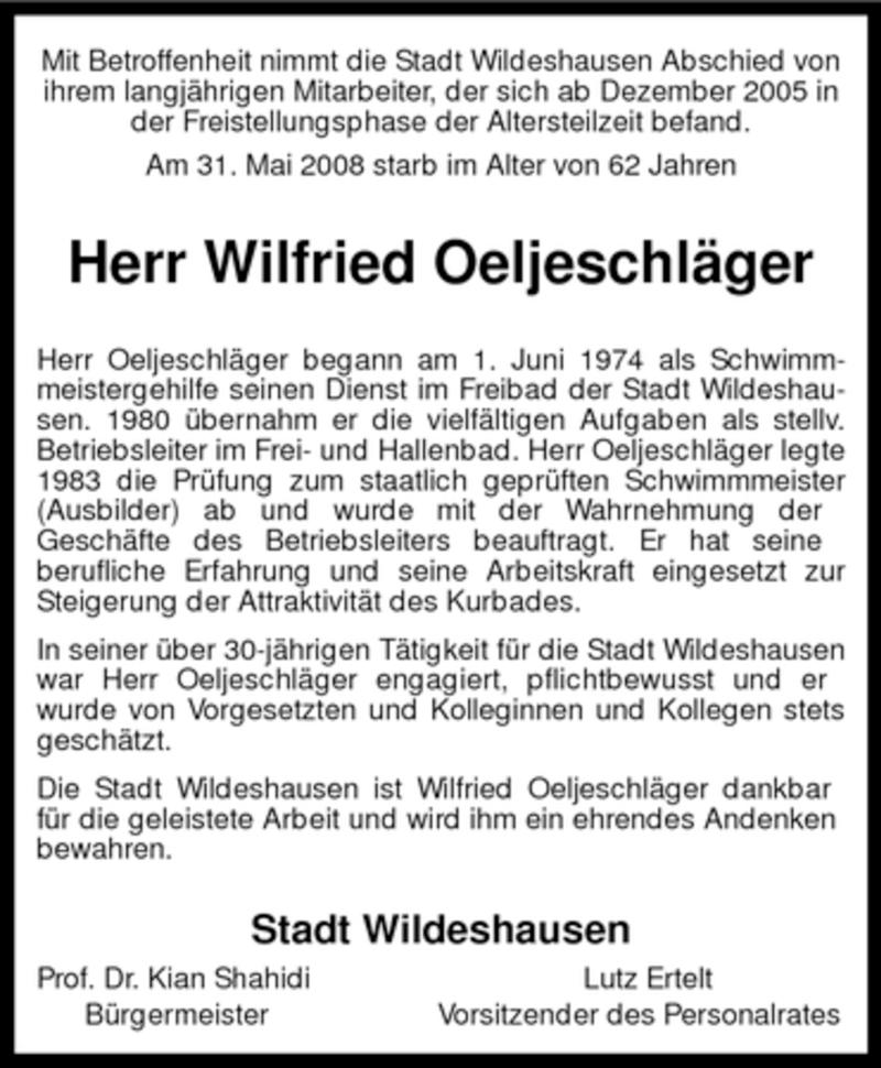Traueranzeige für Wilfried Oeljeschläger vom 04.06.2008 aus KREISZEITUNG SYKE