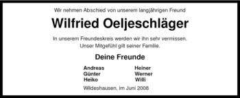 Traueranzeige für Wilfried Oeljeschläger vom 05.06.2008 aus KREISZEITUNG SYKE