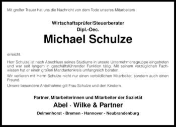 Traueranzeige von Michael Schulze von KREISZEITUNG SYKE