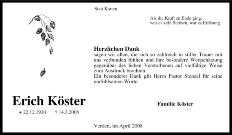 Traueranzeige für Erich Köster vom 19.04.2008 aus KREISZEITUNG SYKE