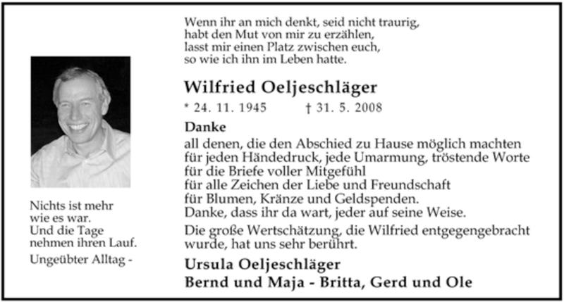 Traueranzeige für Wilfried Oeljeschläger vom 05.07.2008 aus KREISZEITUNG SYKE