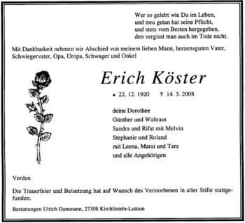 Traueranzeige für Erich Köster vom 22.03.2008 aus KREISZEITUNG SYKE
