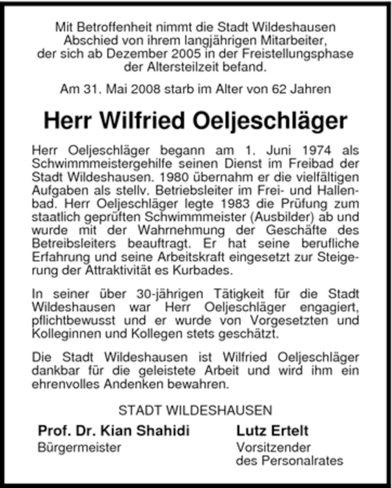 Traueranzeige für Wilfried Oeljeschläger vom 04.06.2008 aus