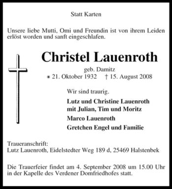 Traueranzeige von Christel Lauenroth von KREISZEITUNG SYKE