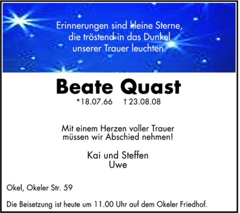 Anzeige von  Beate Quast
