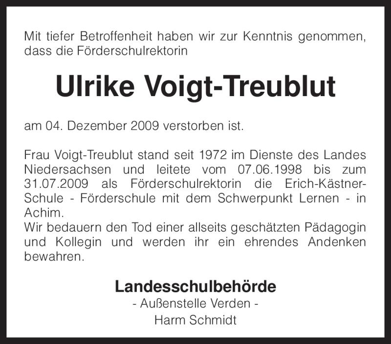 Anzeige von  Ulrike Voigt-Treublut