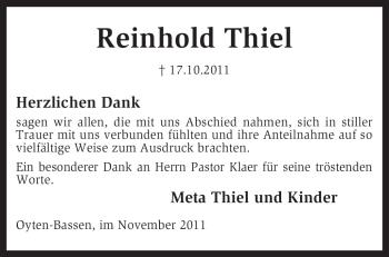 Traueranzeige von Reinhold Thiel von KREISZEITUNG SYKE