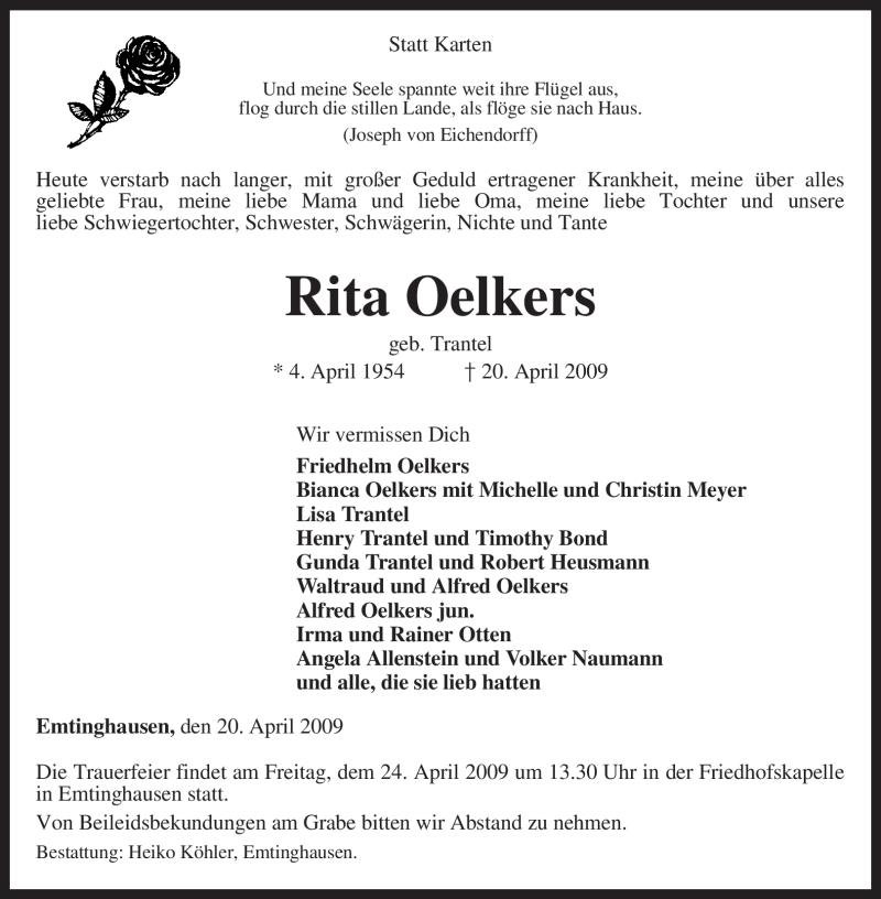 Anzeige von  Rita Oelkers
