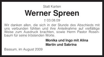 Traueranzeige von Werner Spreen von KREISZEITUNG SYKE