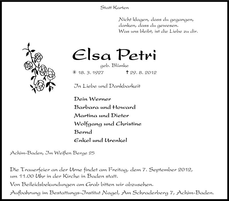 Traueranzeige für Elsa Petri vom 31.08.2012 aus KRZ