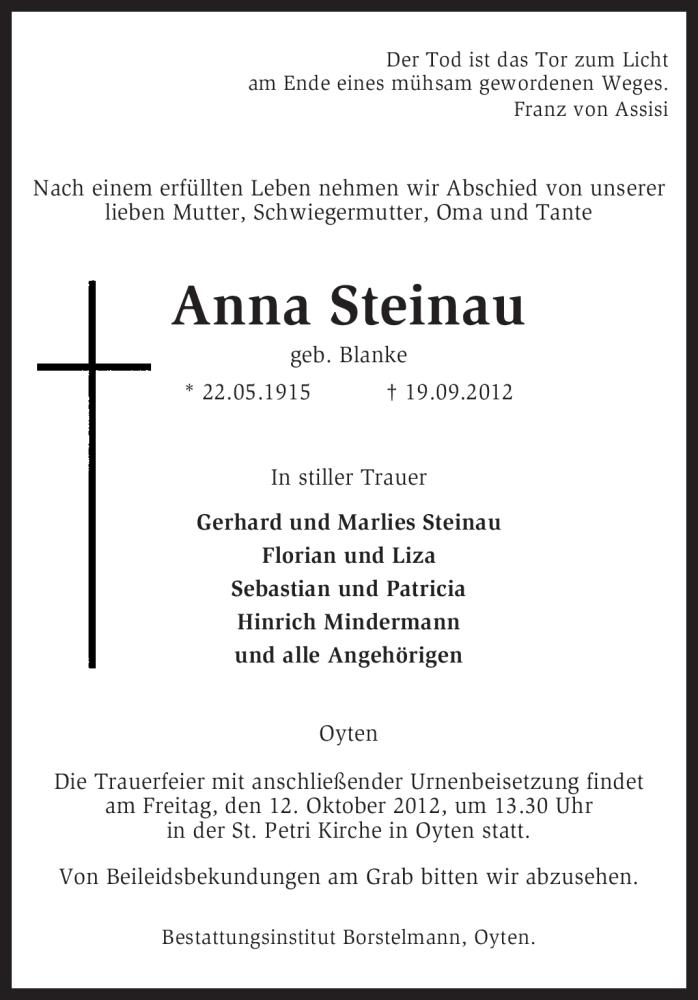 Anzeige von  Anna Steinau