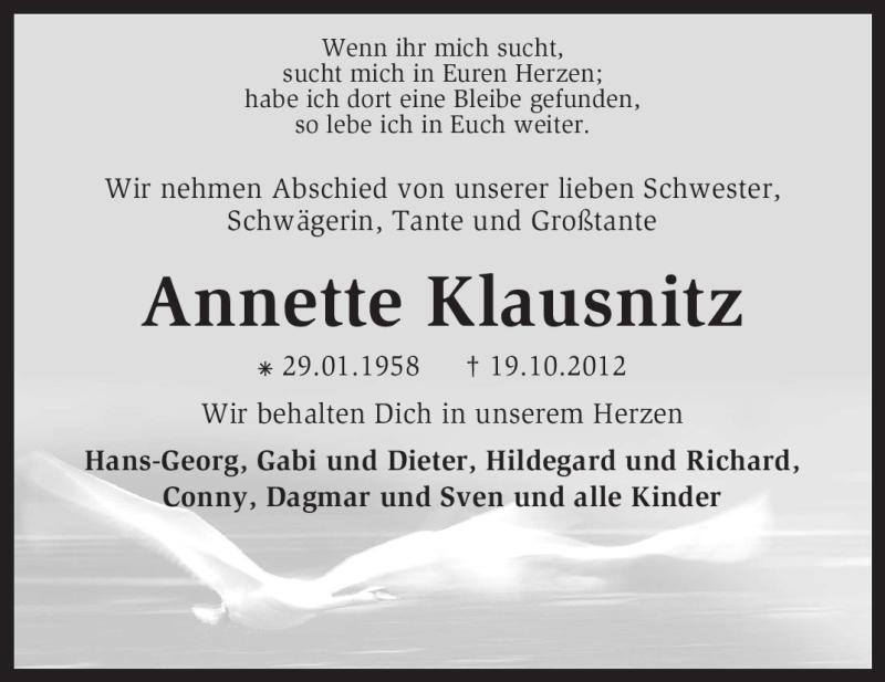 Anzeige von  Annette Klausnitz