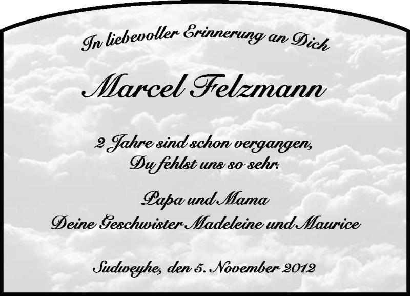 Anzeige von  Marcel Felzmann
