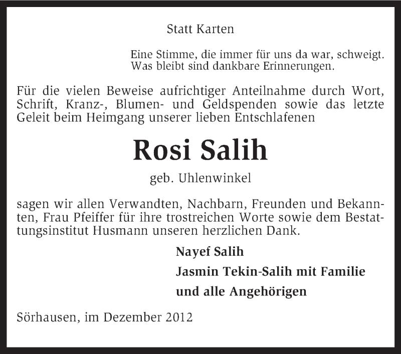 Anzeige von  Rosi Salih