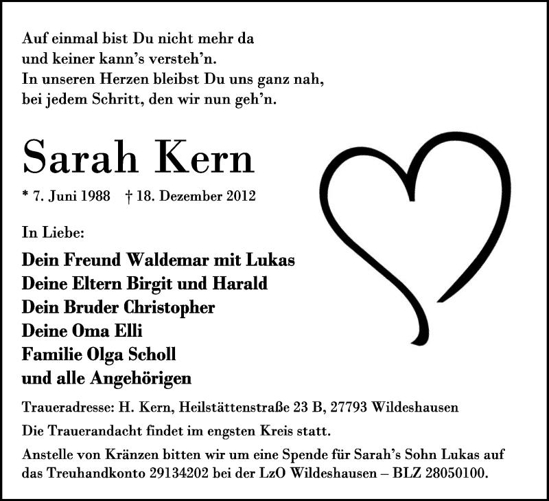 Anzeige von  Sarah Kern