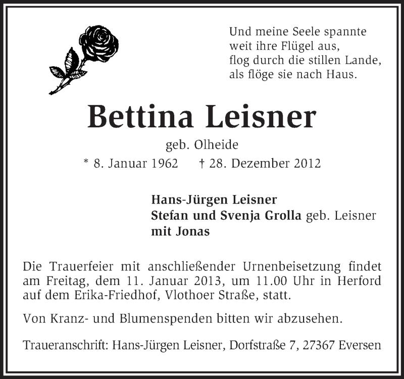 Anzeige von  Bettina Leisner