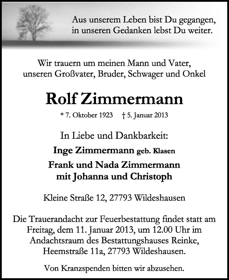 Anzeige von  Rolf Zimmermann