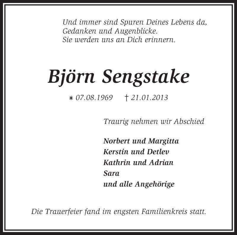 Traueranzeige für Björn Sengstake vom 02.02.2013 aus KRZ
