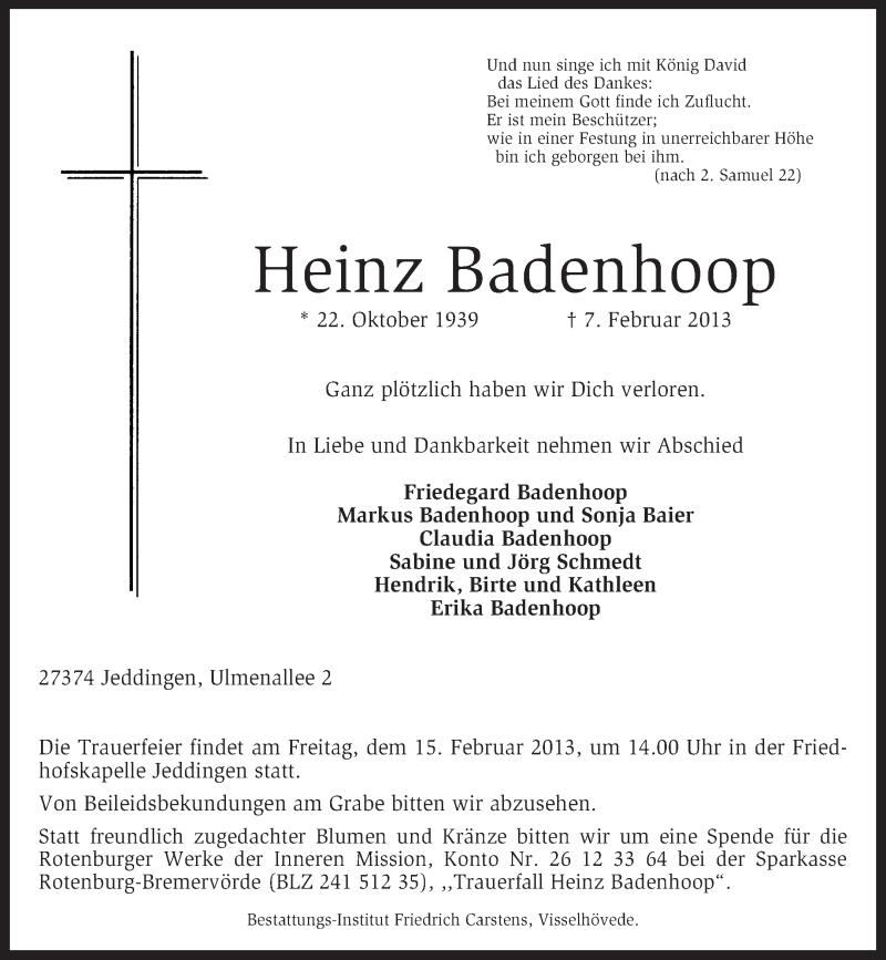 Traueranzeige für Heinz Badenhoop vom 11.02.2013 aus KRZ