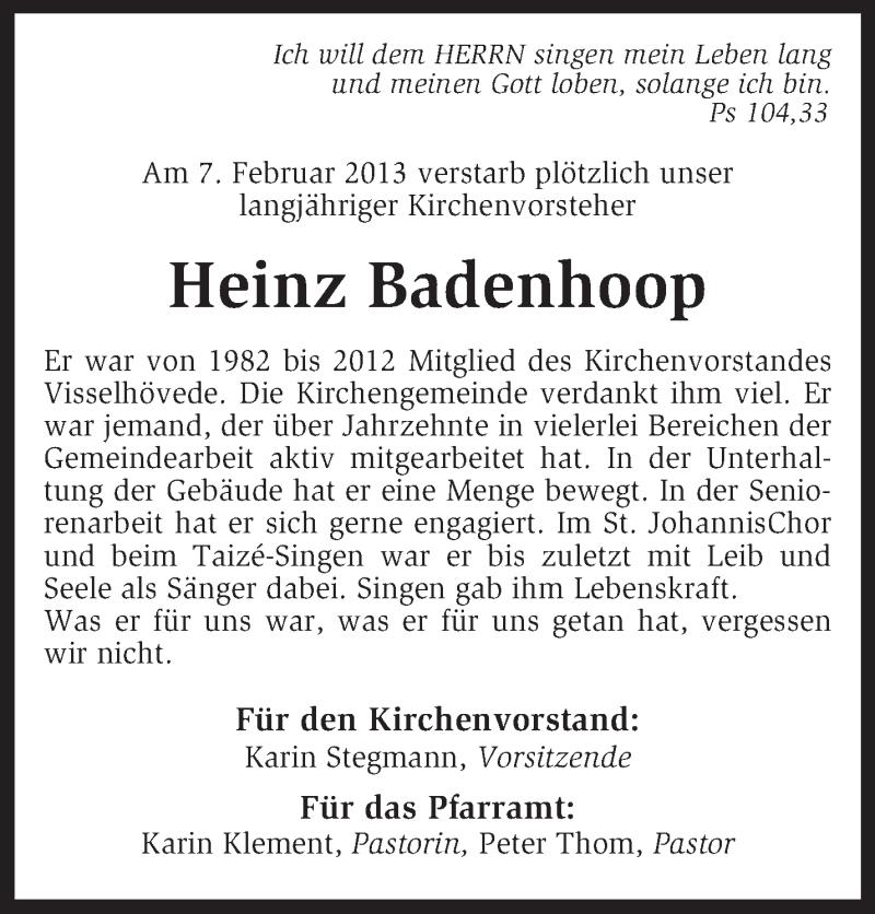 Traueranzeige für Heinz Badenhoop vom 13.02.2013 aus KRZ