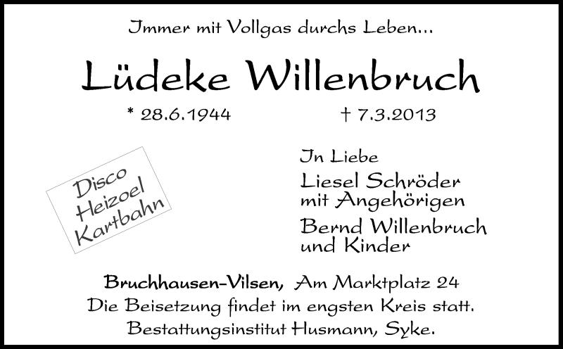 Traueranzeige für Lüdeke Willenbruch vom 16.03.2013 aus KRZ
