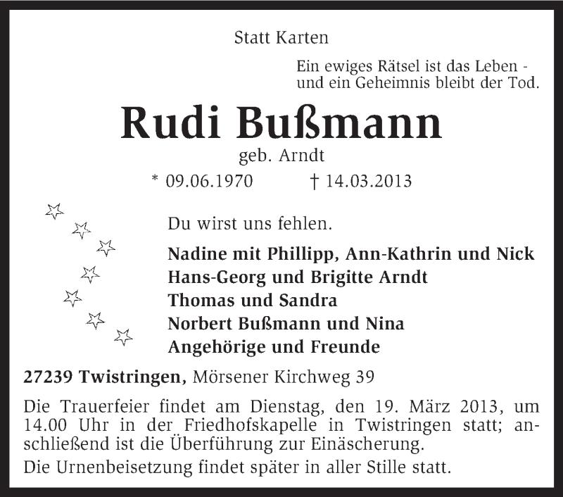 Anzeige von  Rudi Bußmann