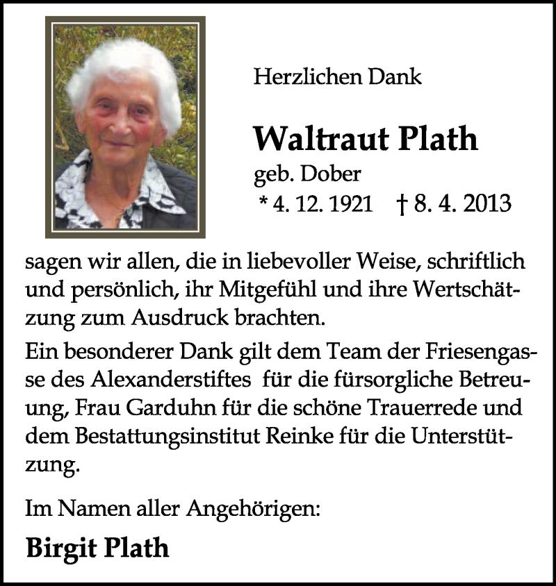 Anzeige von  Waltraut Plath