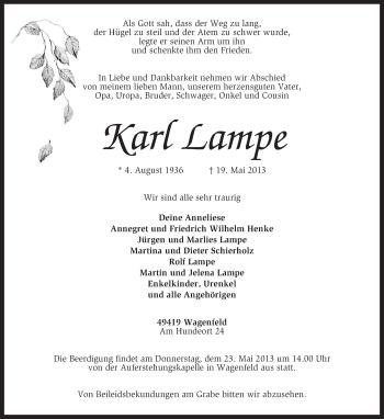 Traueranzeige für Karl Lampe vom 21.05.2013 aus KRZ