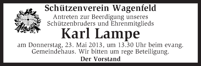 Traueranzeige für Karl Lampe vom 22.05.2013 aus KRZ