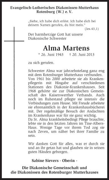 Traueranzeige für Alma Martens vom 25.06.2013 aus KRZ