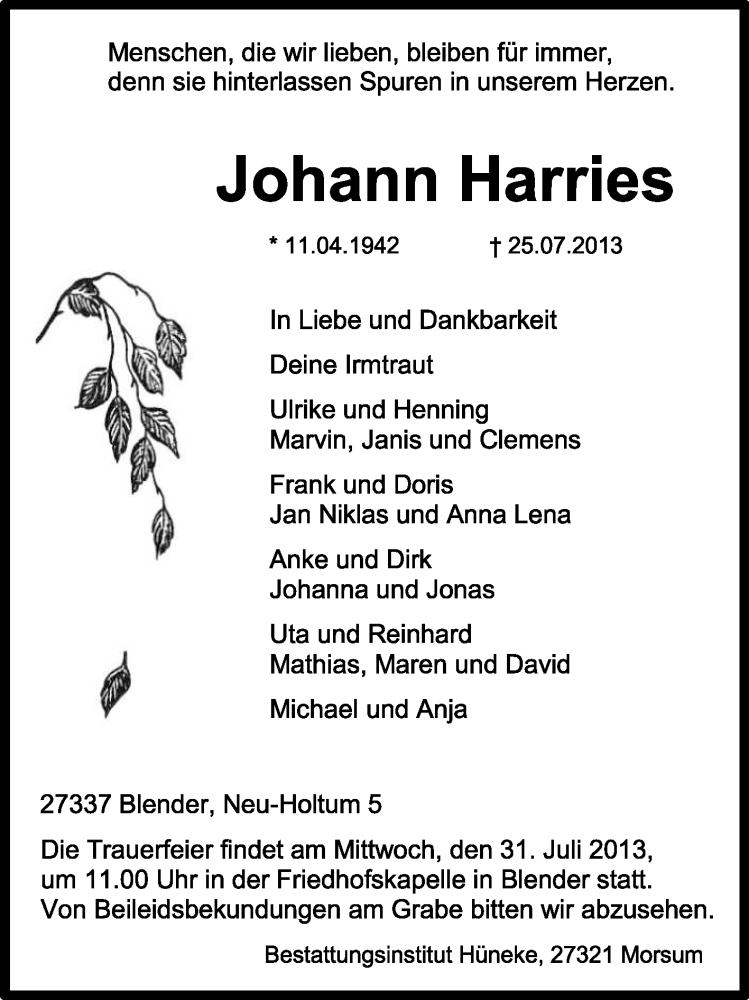 Anzeige von  Johann Harries
