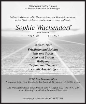 Traueranzeige von Sophie Wachendorf von KRZ