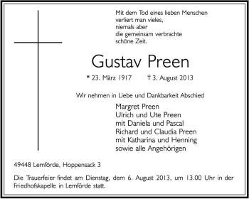 Traueranzeige von Gustav Preen von KRZ