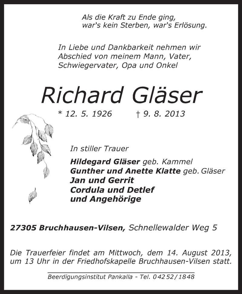 Traueranzeige für Richard Gläser vom 12.08.2013 aus KRZ