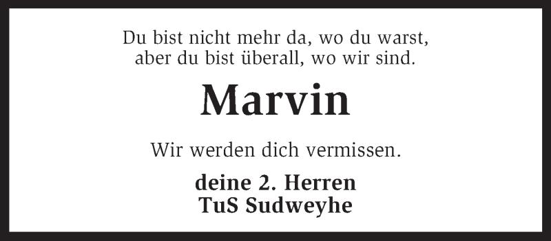 Traueranzeige für Marvin Erdmann vom 31.08.2013 aus KRZ