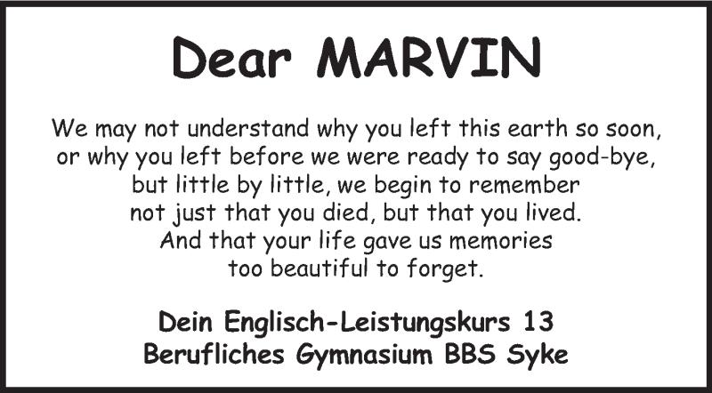 Traueranzeige für Marvin Erdmann vom 04.09.2013 aus KRZ