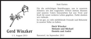 Traueranzeige von Gerd Winzker von KRZ