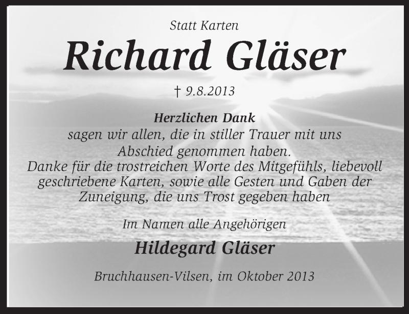 Traueranzeige für Richard Gläser vom 05.10.2013 aus KRZ