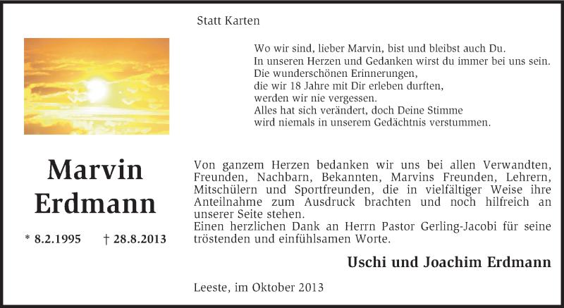 Traueranzeige für Marvin Erdmann vom 12.10.2013 aus KRZ