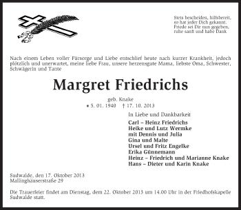 Traueranzeige von Margret Friedrich von KRZ