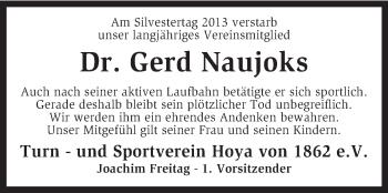 Traueranzeige für Gerd Naujoks vom 06.01.2014 aus KRZ