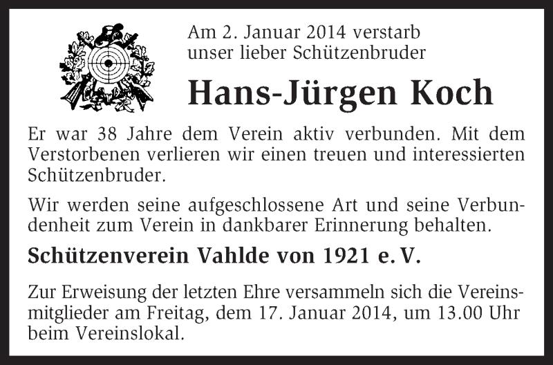 Anzeige von  Hans-Jürgen Koch