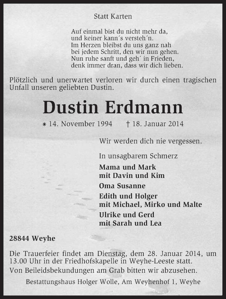 Traueranzeige für Dustin Erdmann vom 23.01.2014 aus KRZ