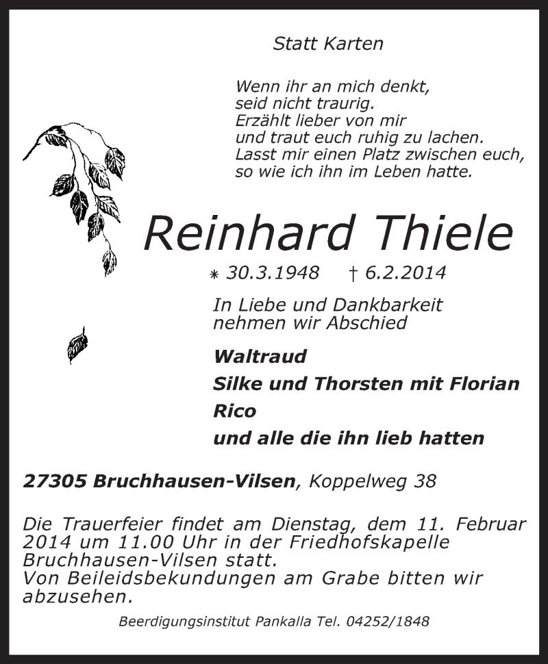 Traueranzeige für Reinhard Thiele vom 08.02.2014 aus KRZ