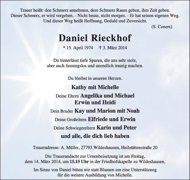 Traueranzeige für Daniel Rieckhof vom 07.03.2014 aus KRZ