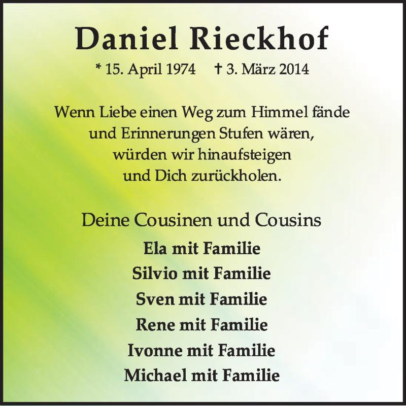 Traueranzeige für Daniel Rieckhof vom 08.03.2014 aus KRZ