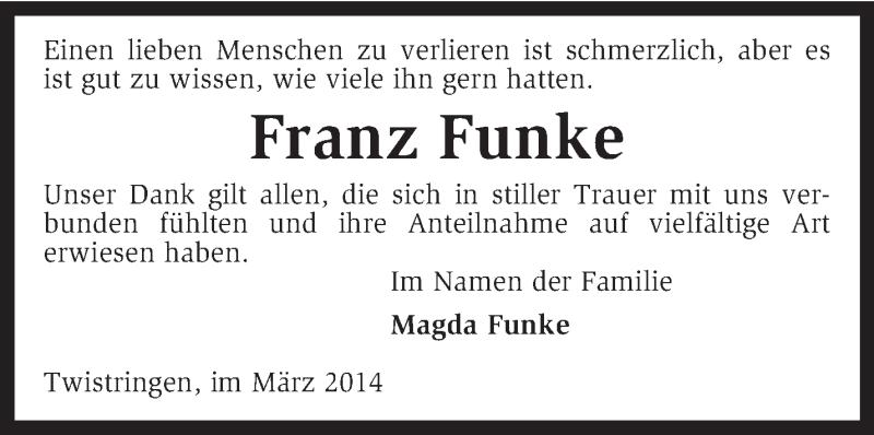 Anzeige von  Franz Funke
